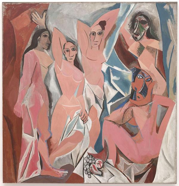 На картине «Авиньонские девицы» одно лицо изображено одновременно в двух ракурсах — анфас и в профиль, как в четвертом измерении!