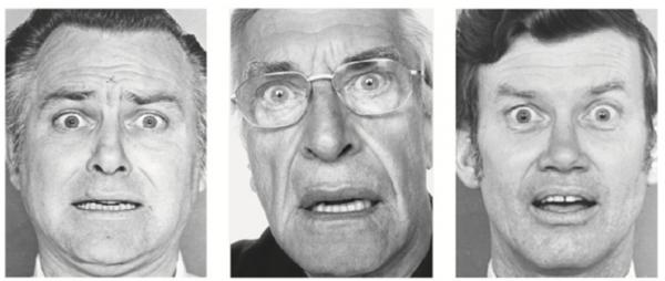 Актер Мартин Ландау (в центре). Слева лицо страха из метода базовых эмоций, справа — лицо удивления