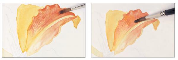 Лессировка — заливка, нанесенная поверх другой заливки. Первый слой должен полностью высохнуть, иначе краска размажется.