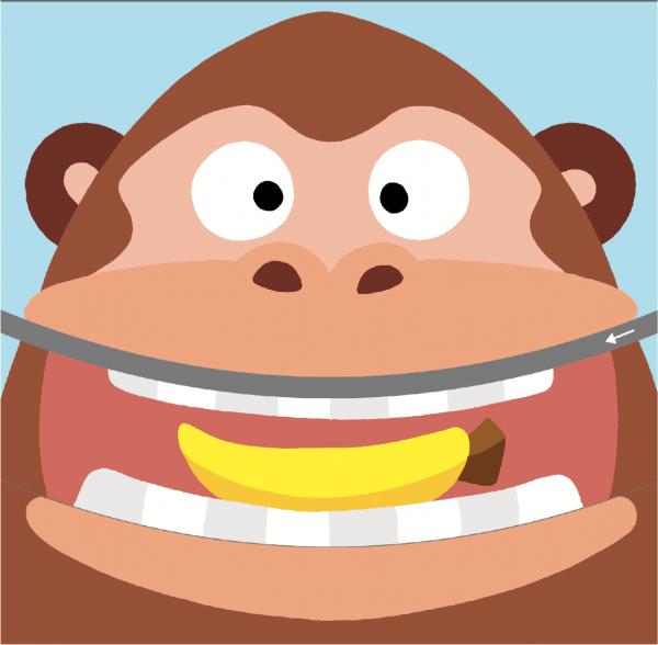 Я сказала, что это новые упражнения, и теперь их надо делать без моей помощи. К тому же картинка оказалась интересной: вырезаешь по линии, а потом двигаешь нижнюю часть и получается, что обезьянка ест банан.