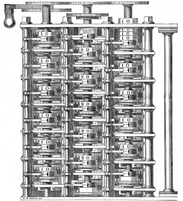 Фрагмент Разностной Машины № 1. К двухсотлетию Бэббиджа для лондонского Музея науки была построена работающая копия Разностной машины по его чертежам — доказано, что проект Бэббиджа был жизнеспособным.