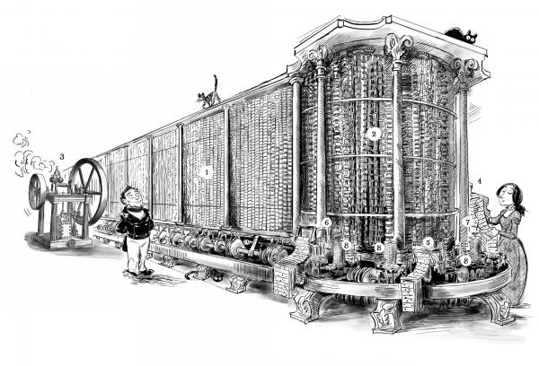 Приложение II, рассказывающее про работу машины, занимает 25 страниц и содержит примерно столько же иллюстраций, поэтому в рассылку получится включить только общую схему:
