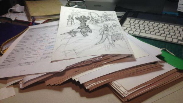Наброски и гора изведенной бумаги