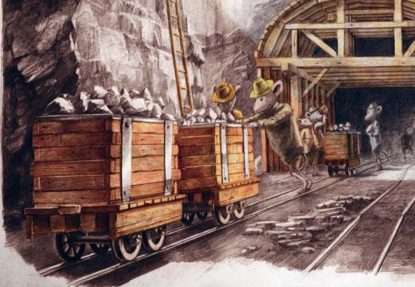 Ребенок увидит, как строится железная дорога на всех этапах.
