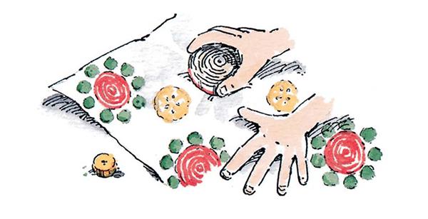 Можно использовать разные фрукты и овощи, чтобы получились разные узоры.