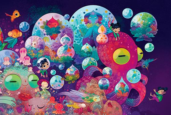«Вот это красота», — первое, что приходит в голову, когда открываешь комикс. Невероятные иллюстрации Лорен Альварес — море сочных красок, которое завораживает и создает особое настроение. Так и хочется нырнуть в него с головой.