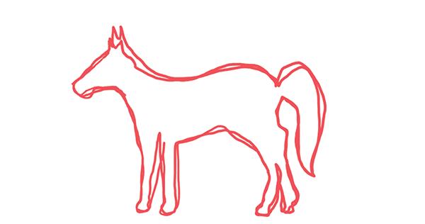 Представьте, что вам нужно нарисовать лошадь. Если вы обычно созерцали лошадей, а не изображали их, возможно, получится вот такая картина.