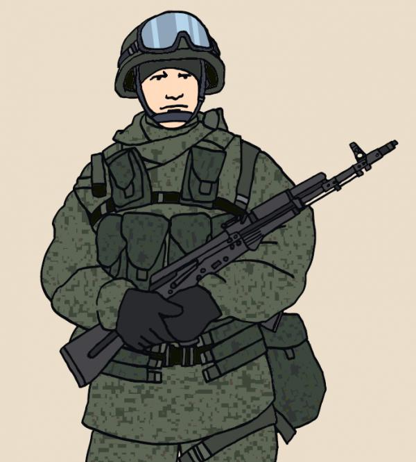 Российский десантник. — Иллюстрация из книги «Военный костюм сквозь времена и страны»