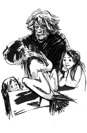 Долго думали, как должен выглядеть отец девочек. Они называют его Веткиным, потому что он похож на ветку, которая вот-вот переломится. Найти этот образ удалось не сразу.