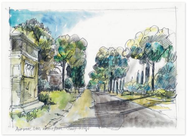 Улица, засаженная деревьями, Италия