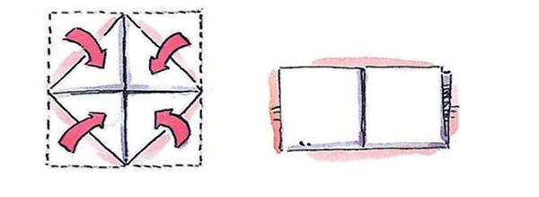 4. Сложи квадрат пополам так, чтобы загнутые углы оказались внутри. Опять разверни.