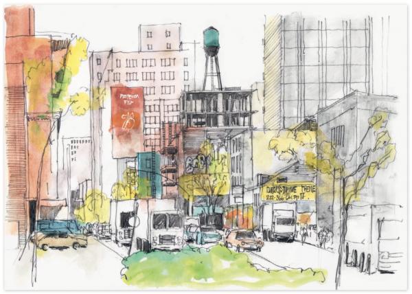 Улица на Манхэттене. Изюминкой данного рисунка стал резервуар для воды на плоской крыше посередине картины