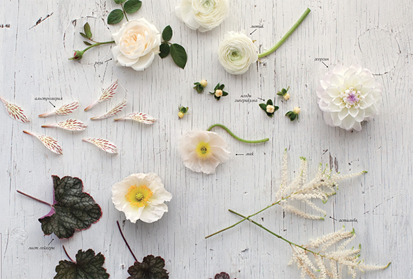 В этой композиции акцентом выступает цветок астильба.