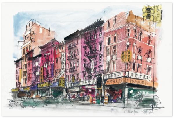 Угловая перспектива зданий в Китайском квартале, Нью-Йорк