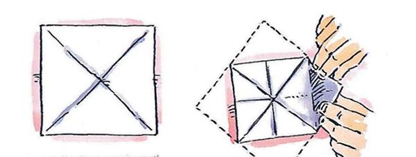 1. Сложи квадратный лист пополам по диагонали. Разверни лист. Ещё раз сложи лист пополам, но по другой диагонали. Разверни.