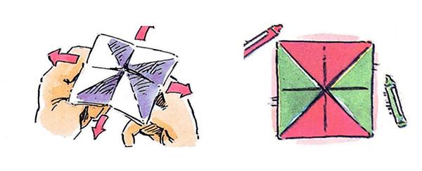 6. Чтобы фигура получилась интереснее, раскрась восемь внешних треугольников красками двух контрастных цветов, например, красным и зелёным.