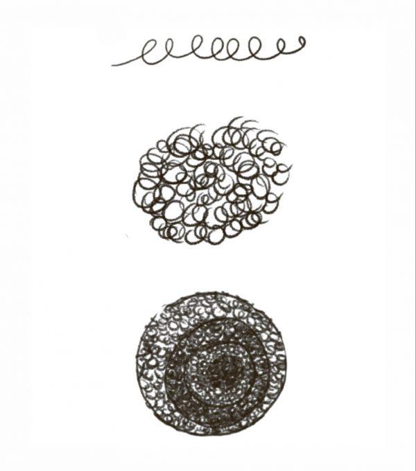 Семечки из завитушек. Если вы хотите побыстрее нарисовать эту часть цветка,рисуйте круглые завитушки.