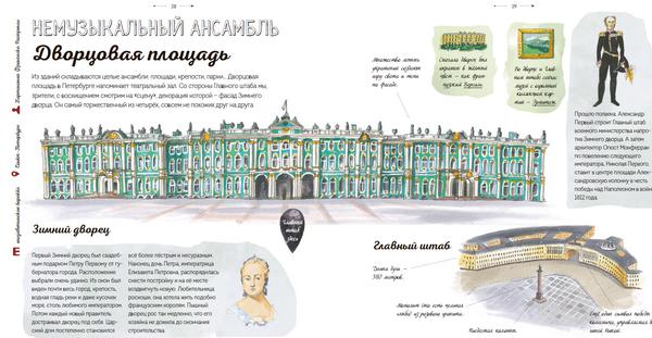 У этой книги уникальная концепция: это не просто книжка со зданиями. В каждом строении и памятнике отражено то, как архитектура переплетается с историей страны.