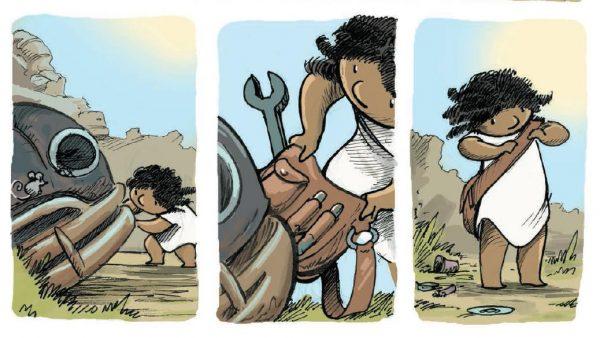 Но главный действующий персонаж книжки все же не Малыш Робот, а его подружка. Маленькая девочка, ловко орудующая гаечным ключом. Она может собрать и разобрать что угодно.