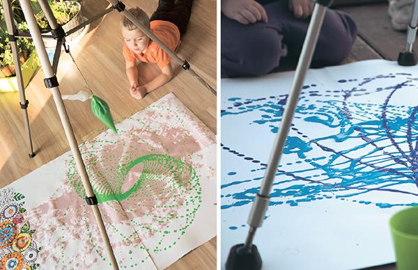 Если вы проделываете такой рисовально-физический опыт в квартире, то заранее объясните детям, что бутылочку с краской необходимо толкать очень аккуратно, чтобы не испачкать все вокруг.