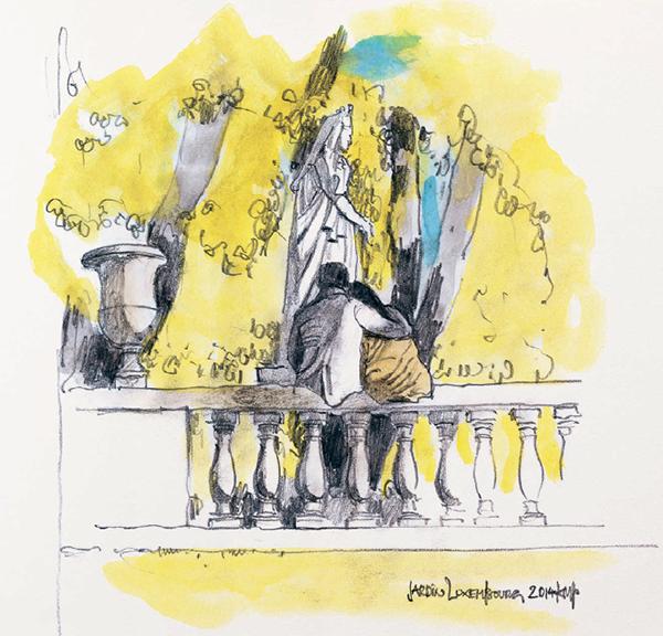 Пара на балюстраде в Люксембургском саду