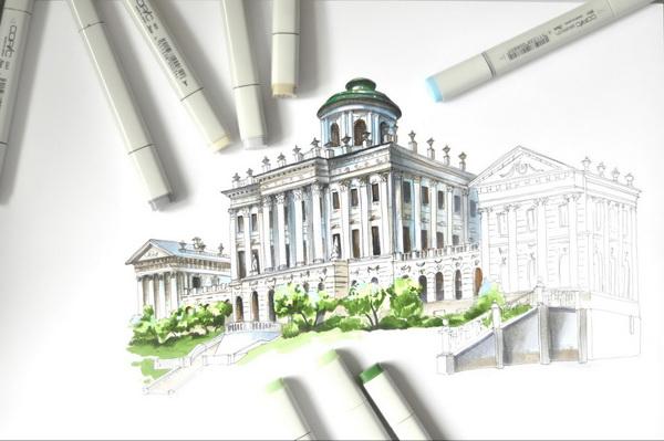 Архитектура требует повышенного внимания на стадии линейного рисунка, ведь если допущены неточности в перспективе или пропорциях здания, восстановить и исправить ошибку цветом практически невозможно. Это отличная практика твердости руки и глазомера.