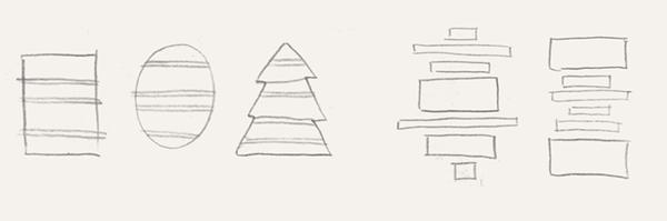 Пятно это может быть простой геометрической — квадратной, прямоугольной, круглой, овальной формы, а также любой живописной, несимметричной, изрезанной формы или иметь узнаваемый силуэт какого-то предмета. Расстояние между строками чаще всего делается одинаковым.