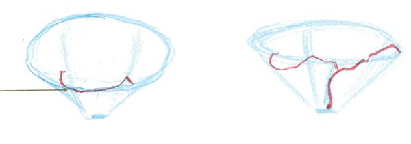 Начинайте рисовать ближние лепестки. Чтобы точно передать их форму и контуры, закройте один глаз и кончиком карандаша обведите их в воздухе.