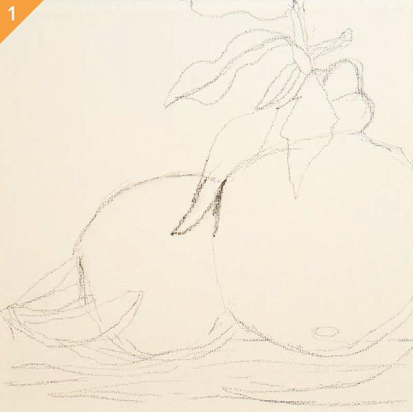 Подготовительный рисунок. Мягким графитовым или темным акварельным карандашом набросайте овальные формы фруктов на белом холсте.