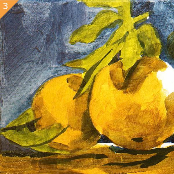 Затем вымойте кисть и смешайте красивый средний базовый оранжевый из одной части желтого цвета и красной краски на кончике кисти.