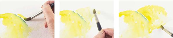 Светлыми мазками создайте контуры второго лимона.