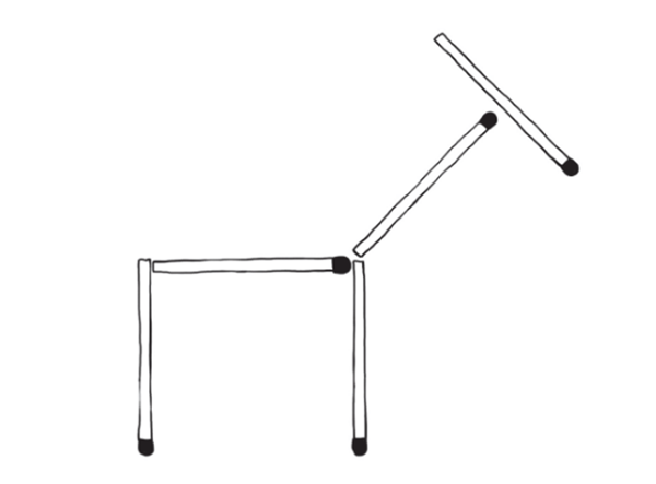 Из пяти спичек выложена корова. Сейчас она смотрит направо. Нужно переложить одну спичку так, чтобы корова смотрела в другую сторону. При этом силуэт коровы не должен измениться. На спичечные головки можно не обращать внимания.