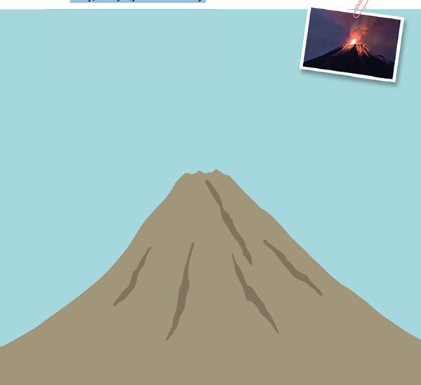 Иногда из вулкана вытекает расплавленная масса из горных пород. Она называется лавой. Рассмотри фотографию вулкана, а затем нарисуй на картинке лаву, текущую по склону.