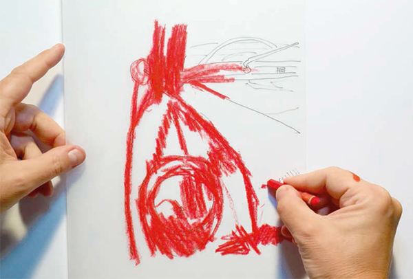 3. Наложите кальку на вашу основу карандашными линиями вниз. Подровняйте ее. Шариковой ручкой или твердым карандашом с небольшим нажимом еще раз пройдитесь по всем контурам.