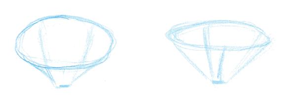 Постройте края конуса и наметьте расположение лепестков. Ближний край цветка заслоняет основания дальних лепестков. Загляните внутрь цветка и увидите, что лепестки расходятся от ложа соцветия. Доведите контуры лепестков до вершины конуса, чтобы точно их расположить.