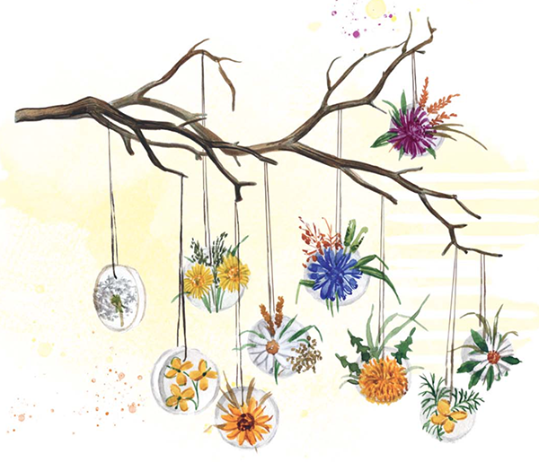 И смогут, например, легко и просто сделать украшение для дома. Для этого нужно приклеить цветки на кружочки, вырезанные из картона, и прикрепить их леской к сухой ветке. Получится вот такая прелесть.