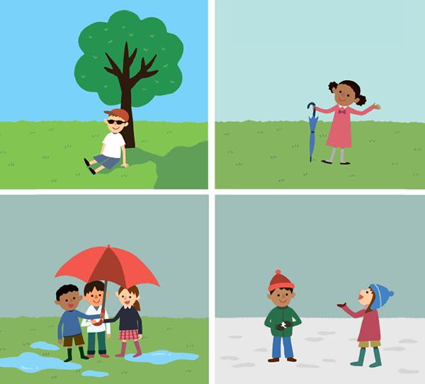 Погода может меняться изо дня в день или даже в течение суток. Бывает солнечно или облачно, иногда идёт снег или дождь. Посмотри, что делают дети на каждой картинке. Как ты думаешь, какая стоит погода? Нарисуй её.
