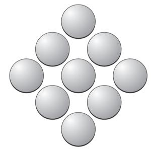 Эти девять монеток разложены в форме ромба. Можете ли вы изменить форму на треугольную, передвинув только две монетки?