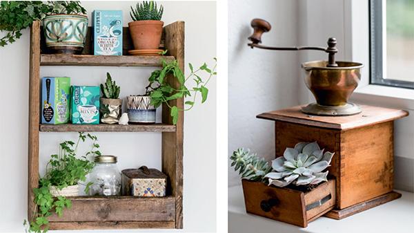 Никогда не выбрасывайте старые палеты и ящики. У дерева есть особая структура и характер, придающий очарование вещам. Смастерите деревянные полочки из старых палет и поставьте туда цветы — идеальное сочетание.
