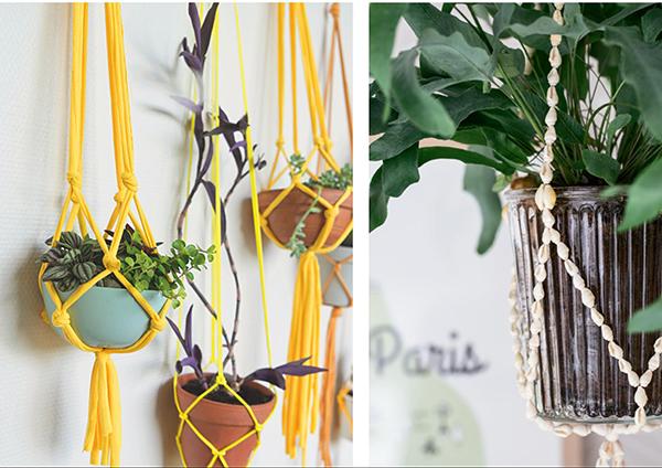Если поставить цветы некуда, прикрепите к потолку подвесные горшки. Их легко сделать, и они не занимают ценное пространство на полу.