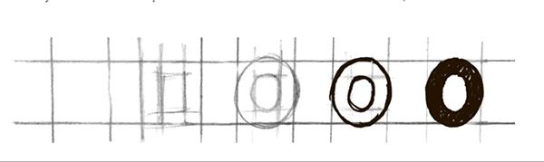 Обратите внимание, что овалы и полуовалы чуть выпирают за высоту букв прямоугольной формы. Вот так.