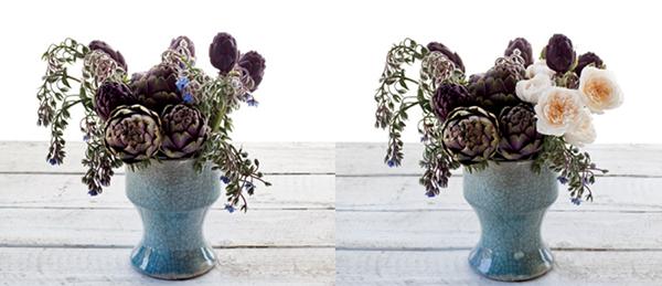 3. Обновите срез на веточках бурачника и расставьте цветы в промежутки между артишоками. Цветы бурачника должны выдаваться в стороны и элегантно нависать над краями вазы.