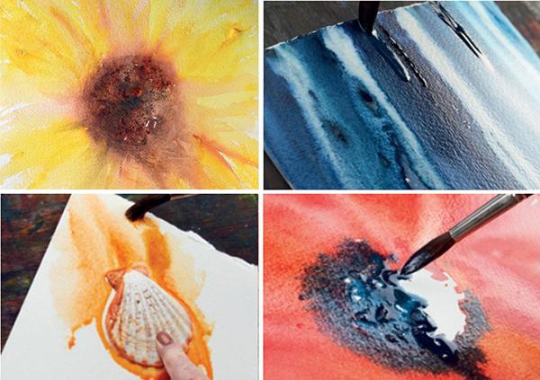 «Акварель без правил» отличается от предыдущей книги размахом: тут вам и величественные синие водопады, и ракушки в золотистых песках, лавандовые поля и гигантские маки. Открываешь книгу, а страницы — так и пышут цветом. Можно смотреть на иллюстрации и медитировать.