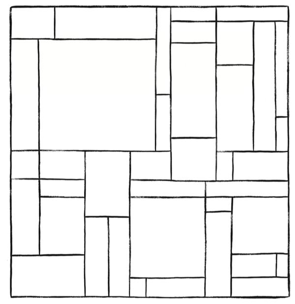 Раскрась эту картинку из перпендикулярных и параллельных линий. Старайся использовать как можно меньше цветов. И проследи, чтобы два соседних прямоугольника не оказались одного цвета. Получится ли это сделать, используя только четыре цвета? Как ты думаешь, можно ли выполнить задание, ограничившись тремя цветами?