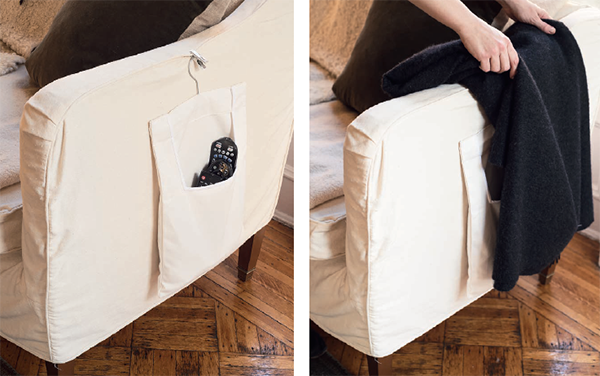 Пульты. Пульты часто пропадают, когда мы их ищем. Пора это исправить. Подарите им удобное место для жизни у вас под рукой. Для хранения на ручке дивана достаточно сумки для одежды, прикрепленной на вешалке. Заполните ее пультами и замаскируйте пледом.