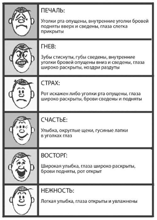 В действительности эмоции редко бывают облечены в слова; гораздо чаще они выражаются с помощью иных сигналов. Чтобы постичь чувства другого человека, нужно уметь расшифровывать информацию, передаваемую невербальными путями: интонацию голоса, жесты, выражение лица и тому подобное.