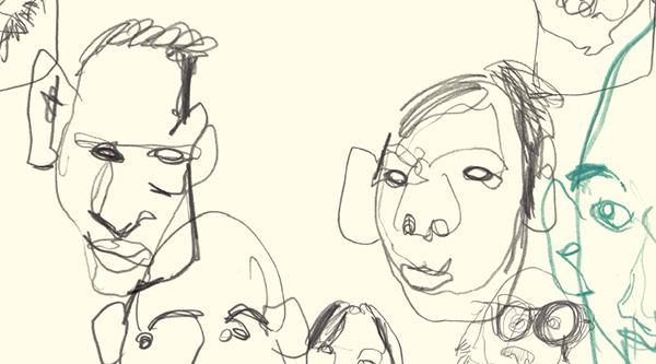 Возьмите карандаш в свободную руку. Не открывая глаз, начинайте рисовать лицо, одновременно ощупывая его второй рукой.