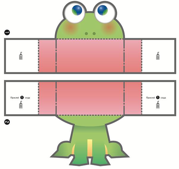 С помощью шаблона из тетради «KUMON. Волшебные поделки» легко сделать лягушку, которая будет забавно квакать