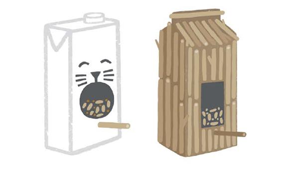 Кормушка из пакетов от сока и молочных продуктов