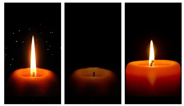 Реалистичное пламя красной свечи.